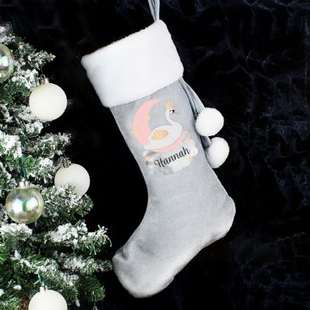 Personalised Grey Swan Lake Christmas Stocking